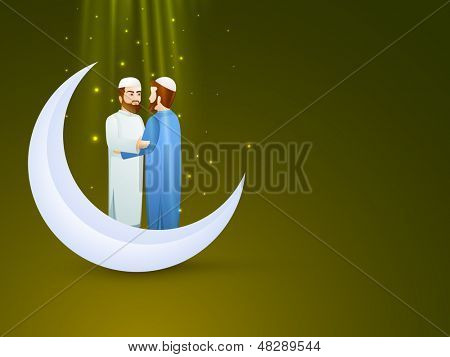 Young Muslim man's in traditional dress wishing to each other on occasion of Eid Mubarak festival with crescent moon