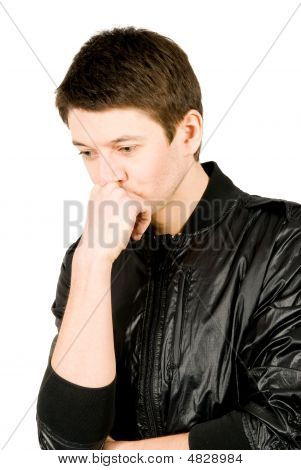 Portrait Of Young Man Thinking, Isolated Over White Background.