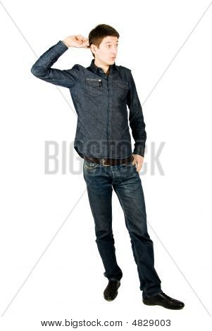 Young Man Thinking, Isolated On White Background.
