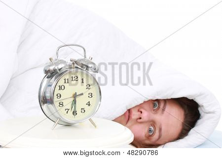 Woman crazy about her alarm clock