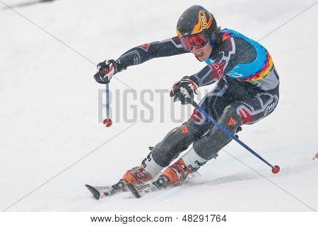 PATSCHERKOFEL, AUSTRIA - JANUARY 21 Miks Edgars Zvejnieks (Latvia) places 13th in the men's slalom on January 21, 2012 in Patscherkofel, Austria.
