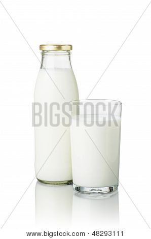 full milk bottle and a glass of milk