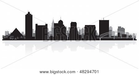 Memphis City Skyline Silhouette