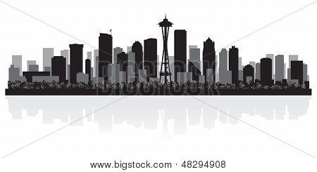 Seattle City Skyline Silhouette