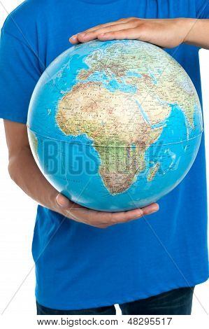 Guy Holding Globe, Closeup Shot
