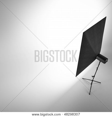 Empty photo studio with  white background