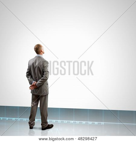 Back view of businessman