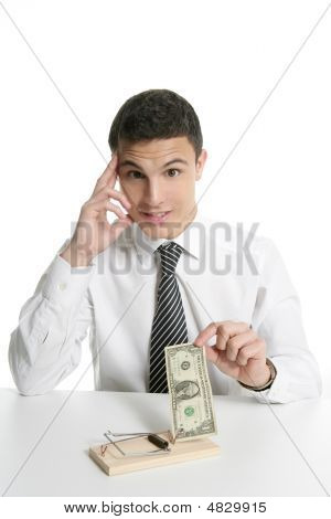 Businessman And Dollar In A Mouse Trap