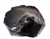 picture of obsidian  - black obsidian stone isolated on white background - JPG