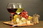 stock photo of brie cheese  - Composition with wine - JPG