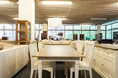 stock photo of thrift store  - A dining space in a furniture shop - JPG