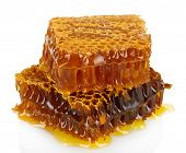 foto of honeycomb  - sweet honeycombs with honey - JPG