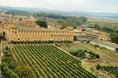 Historic Building And Vineyard poster