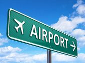 stock photo of directional  - Airport direction road sign - JPG