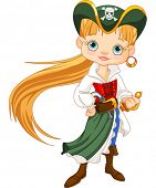 image of pirate girl  - Girl dressed as a pirate - JPG