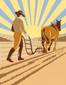 picture of horse plowing  - Vector illustration of a farmer plowing the field with his horse - JPG