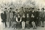 MOSCOW, RUSSIA, CIRCA 1960s: Antique photo, Group portrait of school graduates, circa 1960s