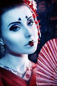 stock photo of geisha  - Art portrait of a stylized Japanese geisha - JPG
