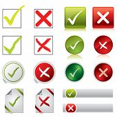 stock photo of positive negative  - Tick and cross stickers buttons and symbols on white - JPG