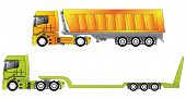 picture of 18 wheeler  - European construction site trucks with their trailers - JPG