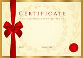 image of credential  - Background design of complition with  gold border for awards - JPG