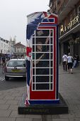 WINDSOR, UK - JULY 21: Prince Harry of Wales depicted on Timmy Mallet's Ring a Royal Post Box. Art i