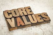 core values - ethics concept - text in vintage letterpress wood type on a ceramic tile background