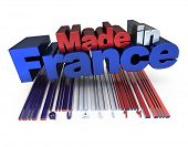 3D made in France with French flag colors and a bar code marked quality