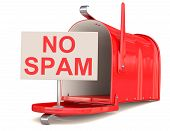 stock photo of no spamming  - No spam sign and red male box - JPG