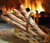 stock photo of baguette  - Baguette baked in the wood oven - JPG