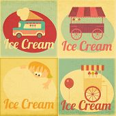 Set Of Ice Cream Retro Labels