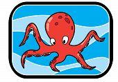 stock photo of animated cartoon  - Illustration of a cartoon animated octopus in blue ocean - JPG