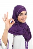 pic of hijabs  - Beautiful happy muslim woman wearing a hijab gesturing ok isolated on a white background - JPG