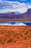 picture of potash  - Evaporation Pools with La Sale Mountains in the Back against beautiful blue sky - JPG