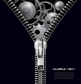 stock photo of zipper  - Abstract background zipper with gears - JPG