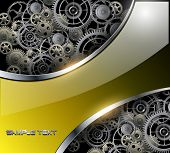 Abstract background with technology metal gears and cogwheels, vector.