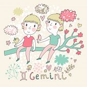 image of gemini  - Cute zodiac sign  - JPG