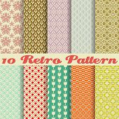 foto of tile  - 10 Retro different vector seamless patterns  - JPG