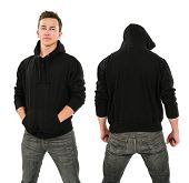 pic of hoodie  - Photo of a male in his late teens posing with a blank black hoodie - JPG