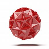 image of geosphere  - Abstract red geosphere isolated on a white background - JPG