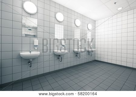 Empty Hand On A Clean Public Washrooms