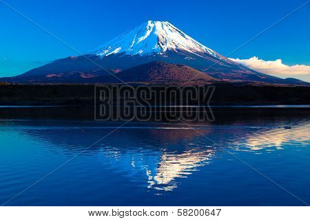 Inverted image of Mt.Fuji - the blue sky