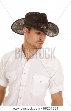 Cowboy Black Hat White Shirt Look Side