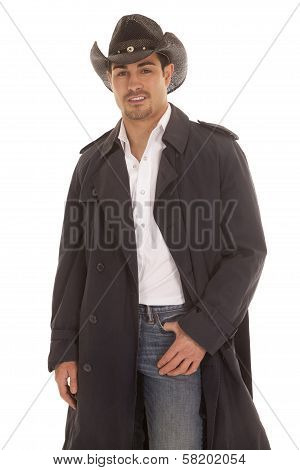 Cowboy In Coat Hand In Pocket