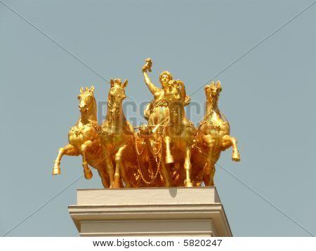 Golden Statue Parc De La Citadella Barcelona Spain