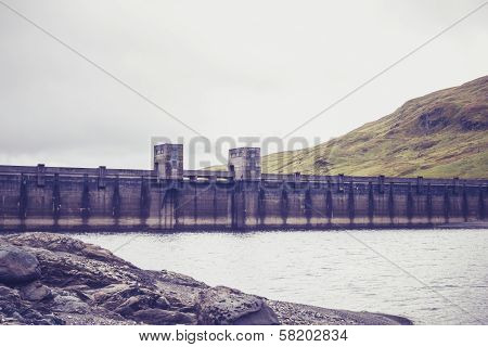 Hydro Power Dam In Mountain Landscape