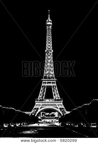 White silhouette on the black background. Eiffel Tower with lots of lights