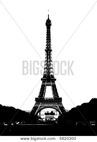The Eiffel Tower in Paris, France. Black silhouette on the white background.