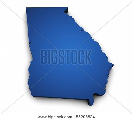 Map Of Georgia State 3D Shape