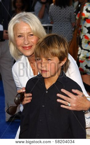 Helen Mirren and her great-nephew at the Los Angeles Premiere of